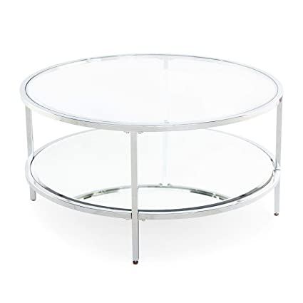 Amazon Com Contemporary Modern Glam Metal Glass Round Silver Coffee