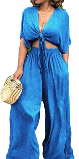 d85219a0ef Pivaconis Women Denim Jean Outfit Sexy Crop Tops Palazzo Pants 2 Piece Set  1 XS