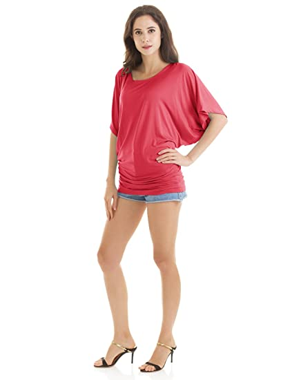 ef48471b7e2 H2H Womens Lightweight Boat Neck Dolman Sleeve Top with Shirring Side Coral  US S Asia