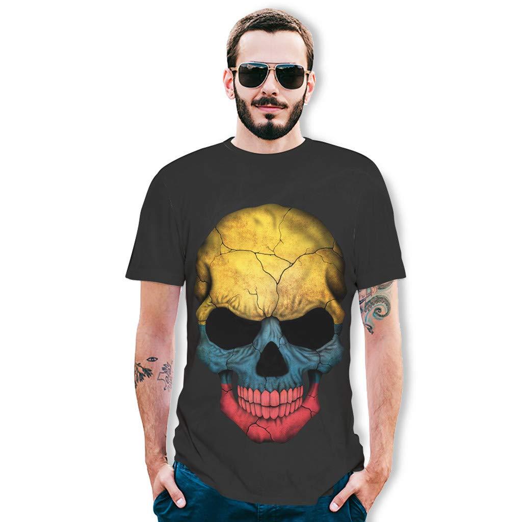 Mens 3D Skull Printing Tees T-Shirt Charberry Splash-Ink Shirt Short Sleeve Blouse Tops