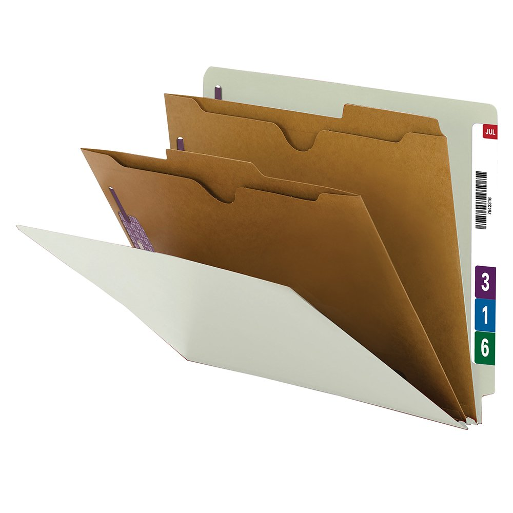 Smead End Tab Classification Folder, Letter Size, 2 Pocket Divider, Gray, 10 Per Box (26710)