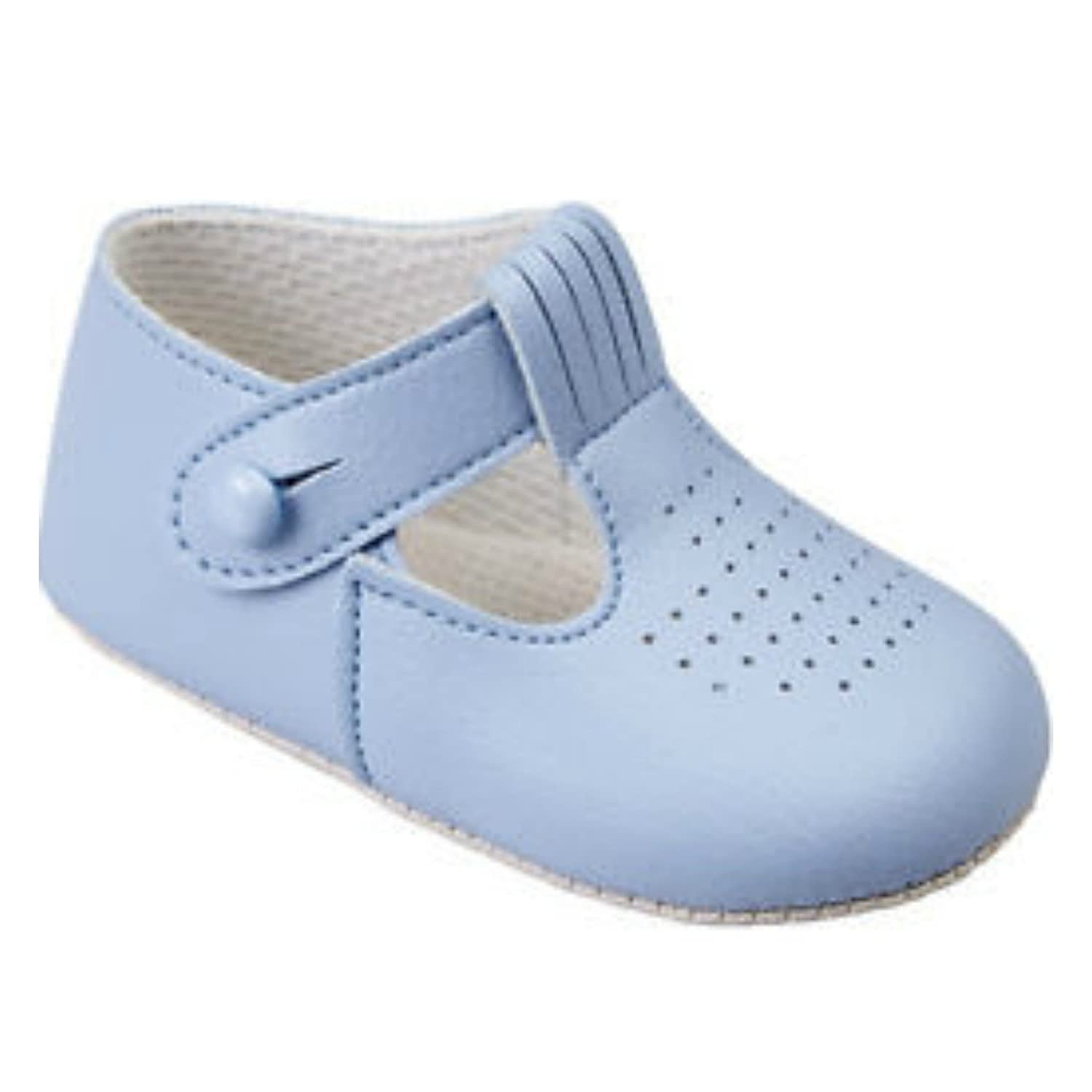 Baby Boys T Bar Pram Shoes with hole cut pattern Made in England