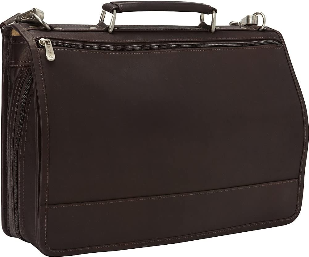 Piel Leather Two-Section Expandable Laptop Portfolio, Chocolate, One Size