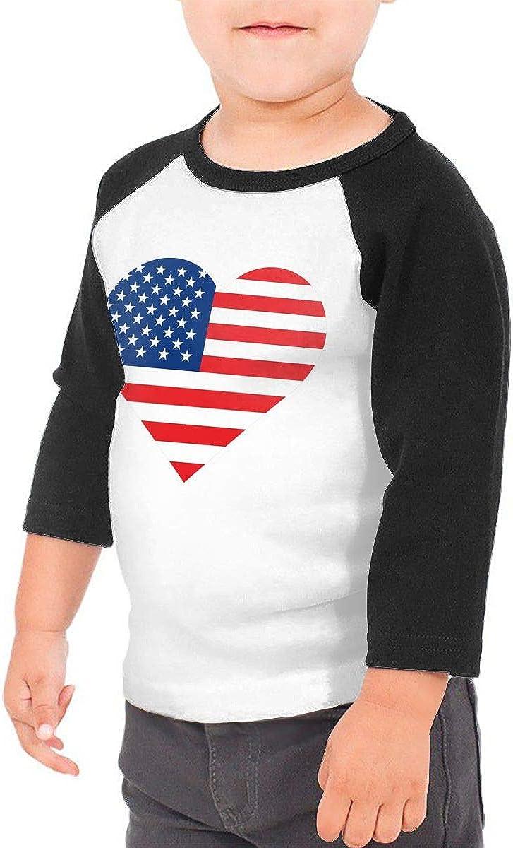 Heart American Flag Kids Jersey Raglan T-Shirt Children 3//4 Sleeve Baseball Shirt Top