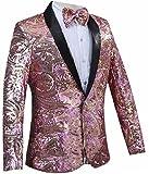 Jaycargogo Mens Tuxedo Single-Breasted Party Show Suit Sequins Jacket Blazer