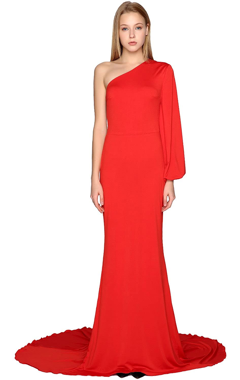 Dress Sleeve Macloth One Mermaid Shoulder Prom Jersey Long Formal lKJcuT1F3