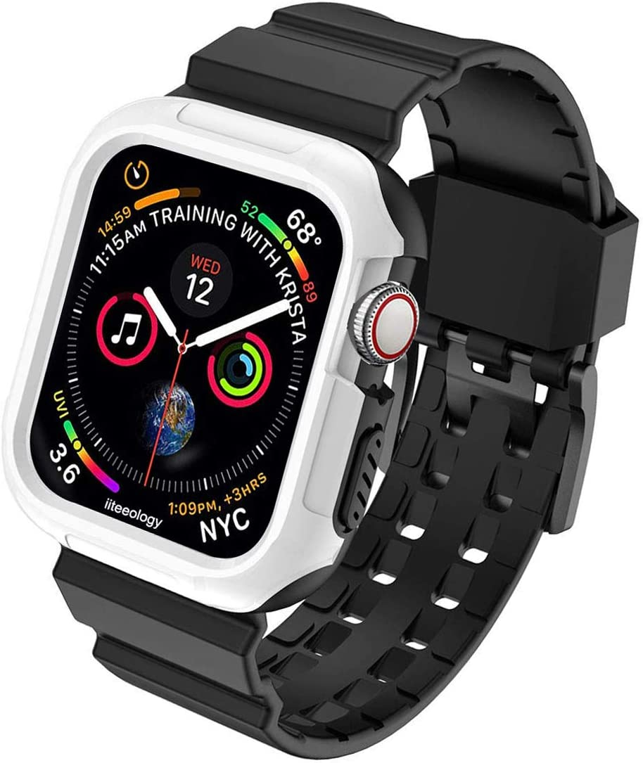 iiteeology Compatible with Apple Watch Band 44mm Case, Rugged Protective Sport iWatch Case with Bands for Apple Watch SE Series 6/5/4, White/Black