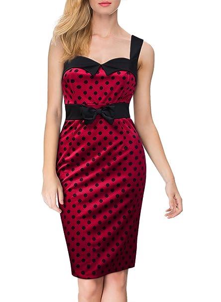 soxonthew® de la mujer Vintage 50s 60s rojo lunares lazo clásico lápiz vestido Rojo rosso