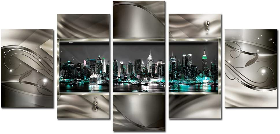 AWLXPHY Decor New York Wall Art Canvas for Living Room Decor Framed Painting 5 Panels Modern Cityscape Night View Blue and Gray HD Print Picture Abstract Giclee Small (Blue, W40 x H20)