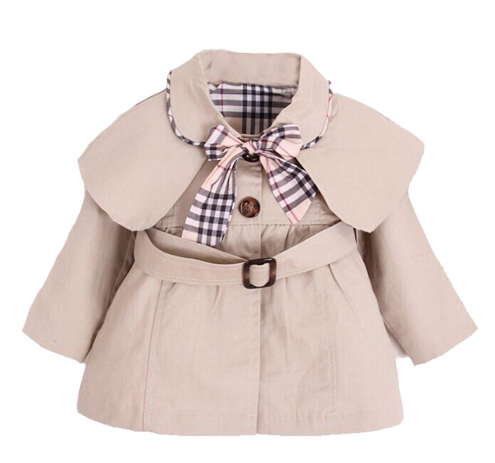Kids Baby Girl Spring Autumn Trench Coat Fashion Wind Proof Jacket Khaki 12-18 Months