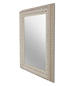 Art Street Floral Antique Decorative Wall Mirror Ivory Color 12 x16 Inch, Outer Size 16 x20 Inch