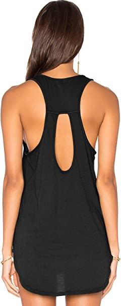 Muzniuer Womens Backless Long Tank Backless Yoga Shirts Workout Shirts Cover up Long Tank Summer Casual T Shirts