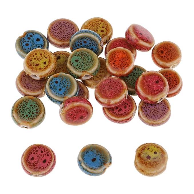 Abalorios Sueltos Estilo Vintage y Elegante P Prettyia 50 Piezas Abalorios de Cer/ámica de Orificio Grande Colores Surtidos