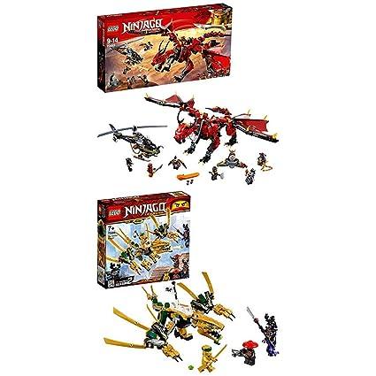 LEGO Ninjago - Llama del Destino (70653) + Dragón Dorado Set de Ninjas Creativo de Juguete para Construir (70666)