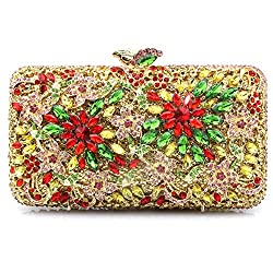 Flower Themed Rhinestone Bridal Clutch