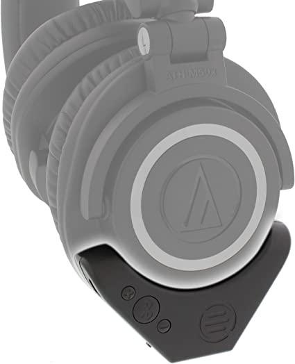 Version 2 Bluetooth Wireless Adapter and Amplifier Aptx EAS Brooklyn Labs Long Battery for Audio-Technica M50x Professional Studio Headphones Clear