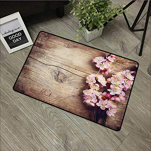 (Children's mat W19 x L31 INCH Floral,Spring Blossom on Wooden Table Romantic Natural Farmhouse Countryside Style Print,Pink Brown Non-Slip, with Non-Slip Backing,Non-Slip Door Mat Carpet)