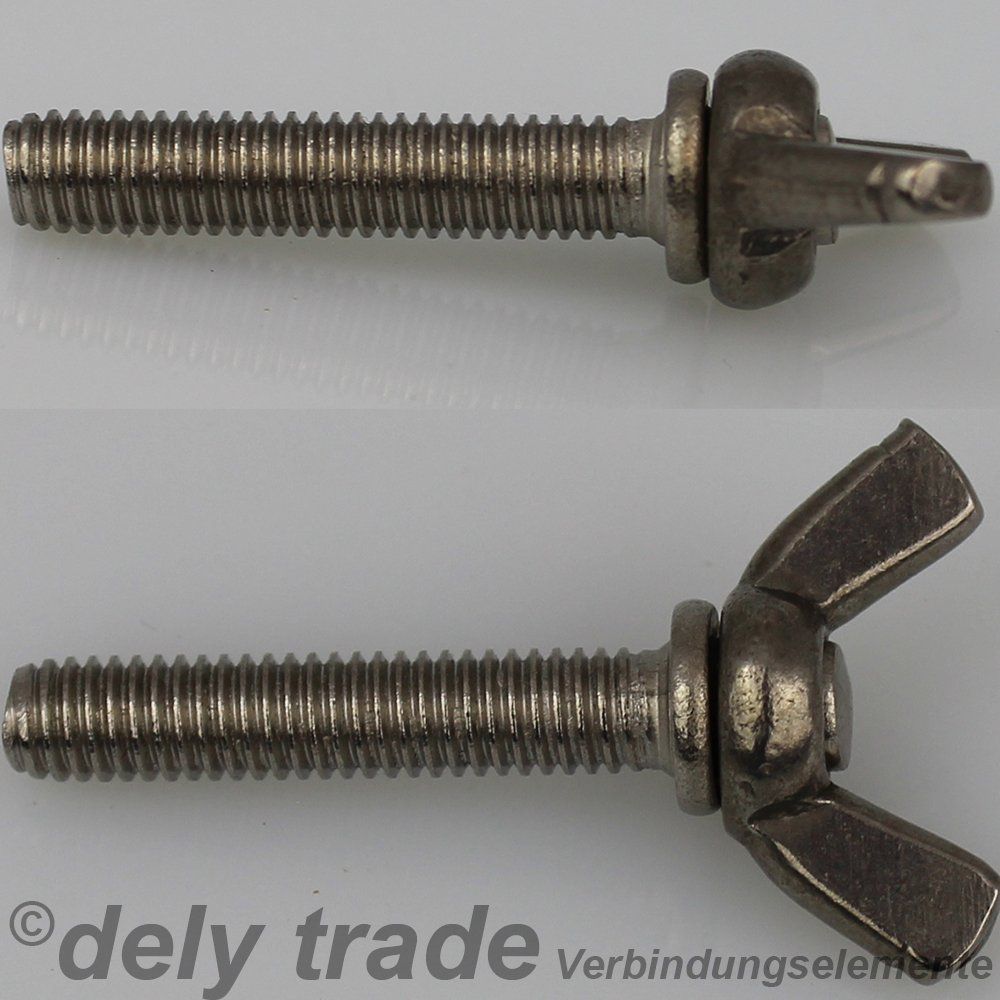 DIN 316 Edelstahl A2 Form /ähnl 10 St/ück Fl/ügelschrauben M6 X 40 amerik