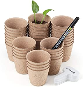 2.4 Inch Peat Pots, Garden Pods Starter Kit for Planting Herb, Vegetable and Fruit Seeds, Organic Biodegradable Plant Germination Kit Plus Tags and Hand Tool Set