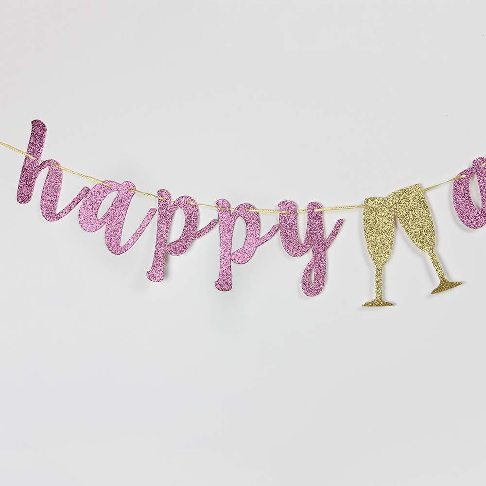 INNORU Happy Anniversary Banner Pink Glitter Birthday Anniversary Sign Wedding Anniversary Party Decoration Photo Props