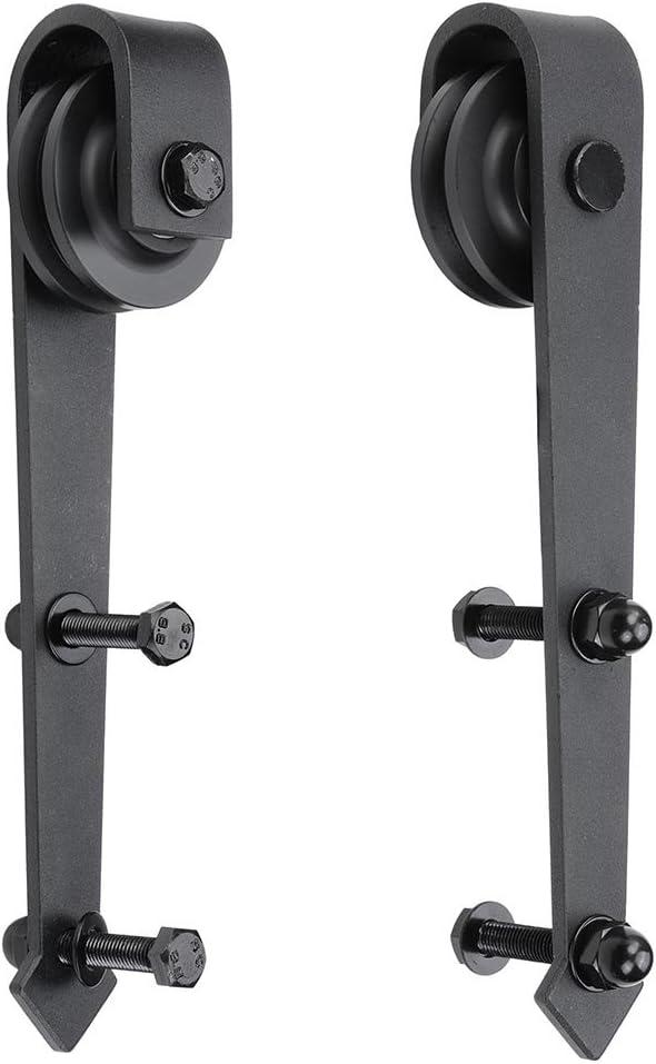 yeshom Juego de ruedas Puerta de granero corredera interior madera de acero 2pcs Hardware percha soporte de sustitución flecha forma: Amazon.es: Bricolaje y herramientas