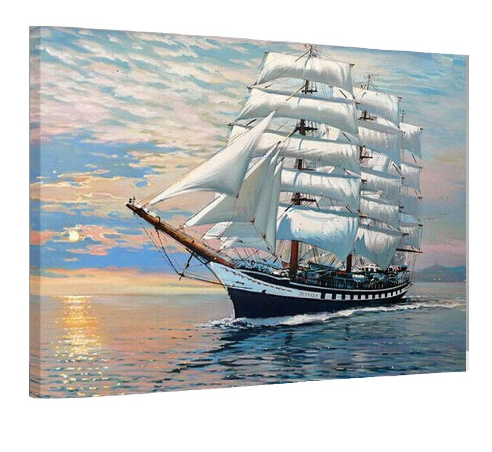 SUBERY Paintworks DIY Oil Painting Paint by Number Kits for Adults Kids Beginner - The Ship is Sailing Smoothly 16x20 inches (Wooden Framed) by SUBERY