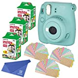 Fujifilm Instax Mini 8+ (Mint) Instant Film Camera with No pattern film 3 x 20 Shoots (Total 60 Shoots) , withC Cloth lens Cleaner, 60PCS photo fram stickers