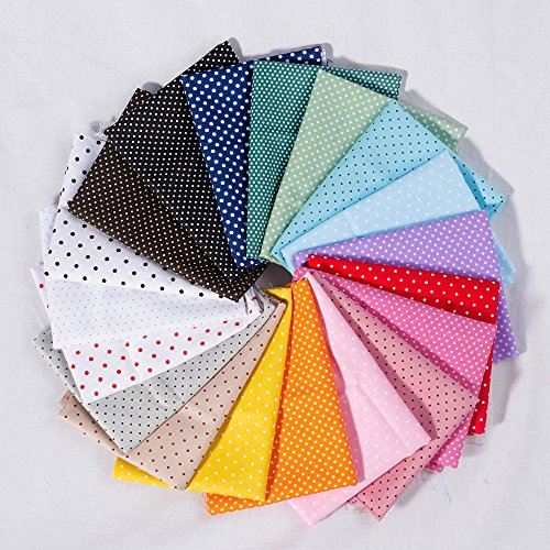 19pc Cotton Fabric Quilt Fabric Fat Quarter Bundle Polka Dots Pattern Sewing Handmade Textile Fabric Material 40 X 50cm