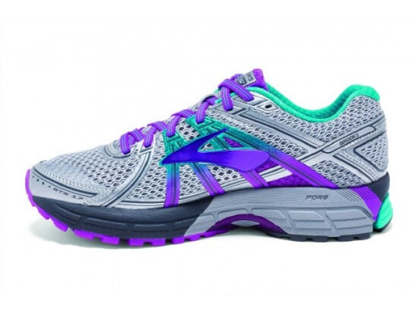 Brooks Women's Adrenaline GTS 17 Silver/Purple Cactus Flower/Bluebird 8 D US