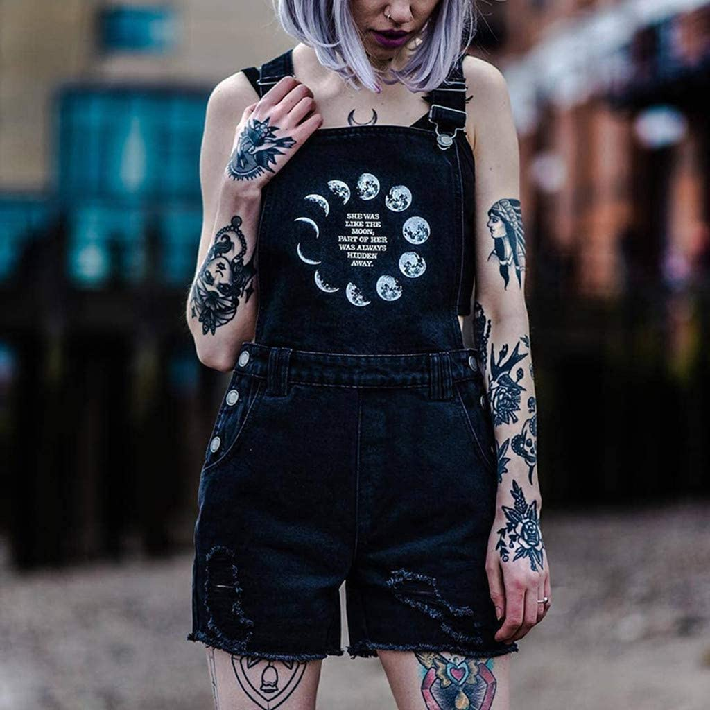 TWGONE Bib Overall Shorts for Women Casual Street Gothic Punk Moon Print Hole Rompers Jumpsuit