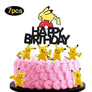 Anxdh 7PCS Pikachu Happy Birthday Cake Topper Cartoon Theme Baby Shower Kids Birthday Party Decoration Boys and Girls