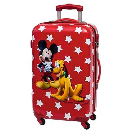 Disney Mickey y Pluto Maleta Mediana Rígida, Color Rojo, 53 litros