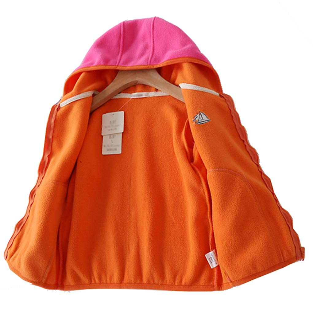 Qinni-shop Boys Girls Navy Orange Gray Red Fleece Lining Hoodie Pullover Winter Sweatshirt