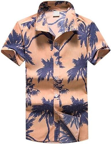 VJGOAL Hombre impresión Camisa Hawaiana botón Solapa Manga Corta Tops Verano Casual Playa Blusa Camiseta: Amazon.es: Ropa y accesorios
