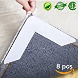 #3: IDEALCRAFT Rug Gripper Non Slip Rug Pad 8 pcs for Area Rugs Pad, Anti Curling Rug Gripper, Double Sided Tape Work for Indoor & Outdoor Carpet Mat, Rug Slip Grip