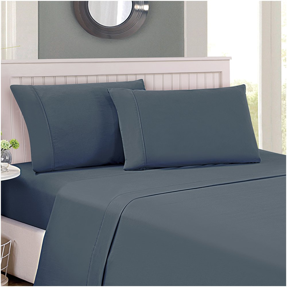 Bed Sheet Set Comfortable, Breathable and Soft - 4 Piece (King, Gray