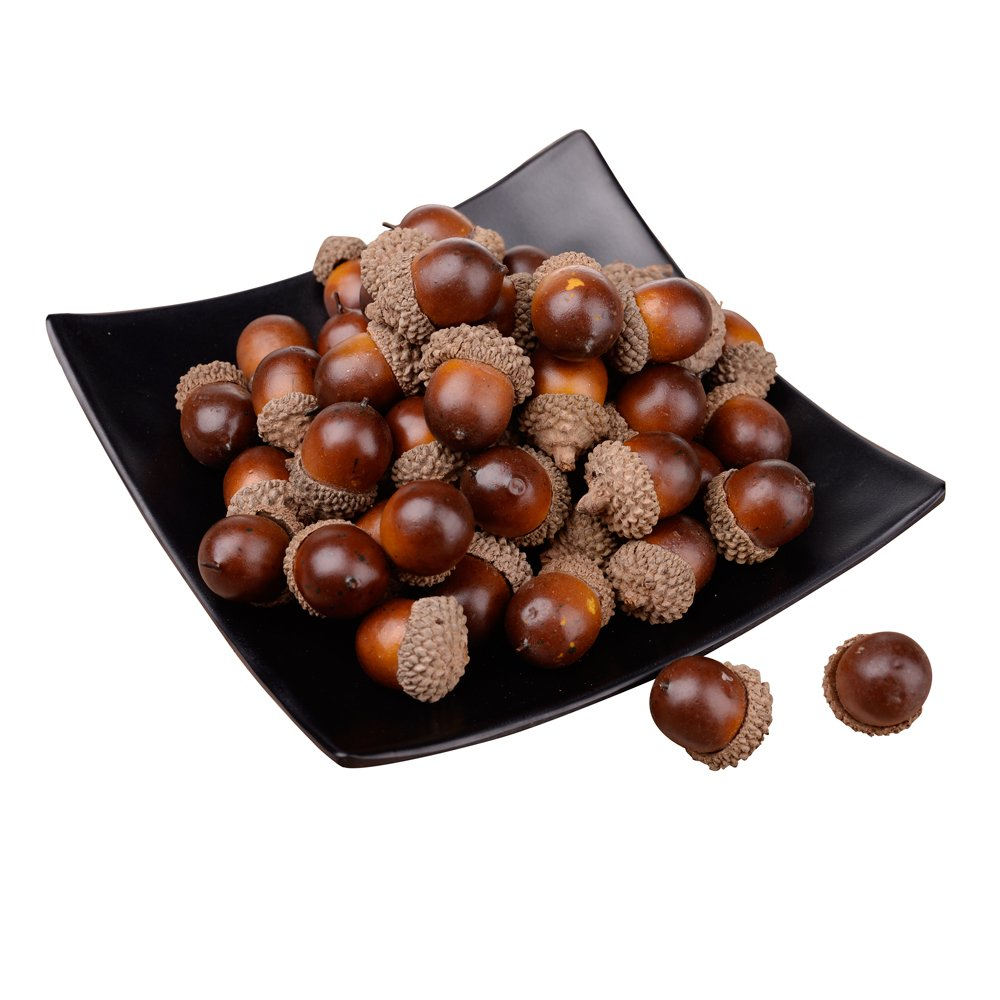 Feyarl®100pcs Artificial Acorn Lifelike Simulation small with Natural Acorn Cap for Christmas Autumn Crafting Wedding House Deco