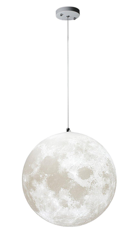 Gahaya Moon Pendant Lamp 3D Printing Ceiling Light 3200K 6500K E26 LED Bulb Included 18''/45cm Diameter