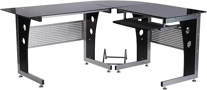 HOMCOM Mesa Esquinera PC Escritorio Ordenador Oficina Dormitorio Hogar Escuela Metal Madera Vidrio de Seguridad: Amazon.es: Hogar