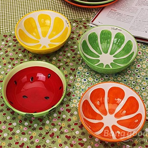 (Pink Lizard Handmade Ceramic Bowl Hand Painted Fruit Watermelon Rice Bowl Soup Ceramic)