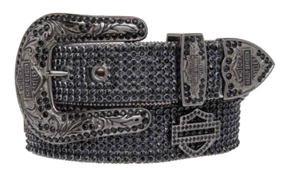 Harley-Davidson Women's Embellished Bar & Shield Belt, Black HDWBT10044-BLK (M) by Harley-Davidson