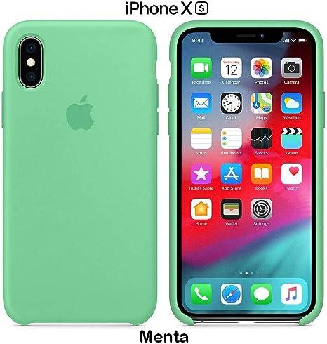 Imagen deFunda Silicona para iPhone X y XS Silicone Case, Logo Manzana, Textura Suave, Forro Microfibra (Verde-Menta)