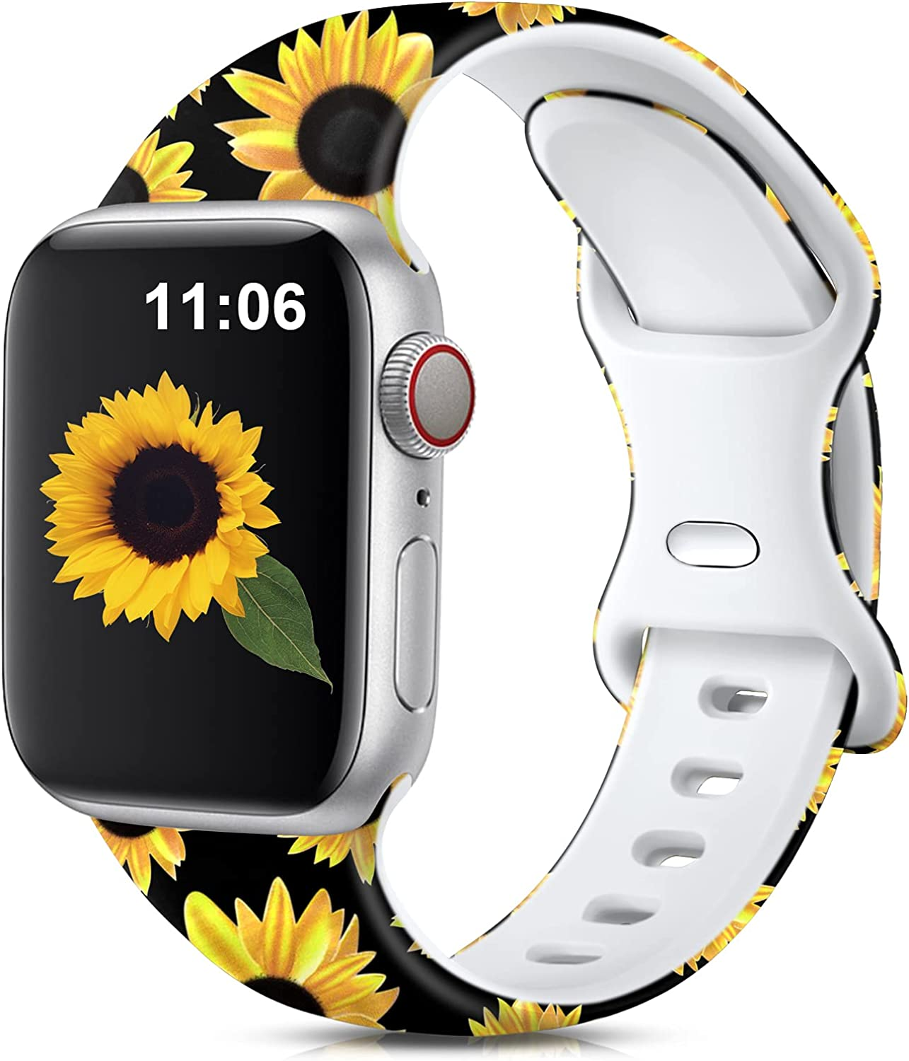Muranne Compatible with Apple Watch Band 40mm 38mm for Women Ladies Girls Stylish Cute Fadeless Print Replacement Watch Bands Soft Silicone Sport Wristbands for iWatch SE Series 6 5 4 3 2 1