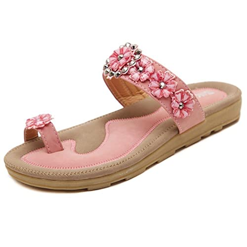 dcab2a9a0416b MayBest Womens s Summer Flower Rhinestone Thong Sandals Bohemian Flip Flops  Casual Shoes (Pink 4 B