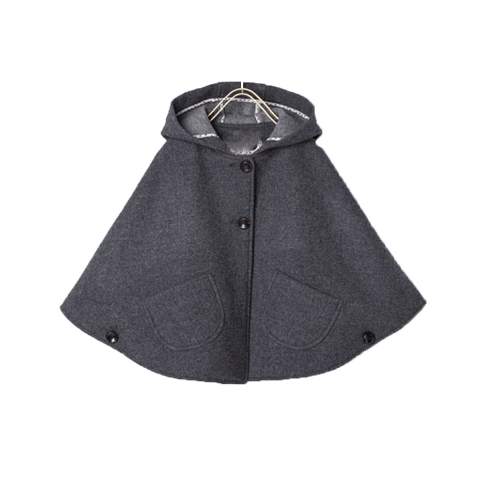 Everweekend Kids Girls Wool Blend Hoodie Capes Poncho Children Fall Winter Outwear (4T)