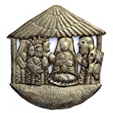 Cheap Nativity, Handmade, Ethnic, Haiti Metal Art, Creche, Christmas, Holiday Decor 9.5″ X 9.5″