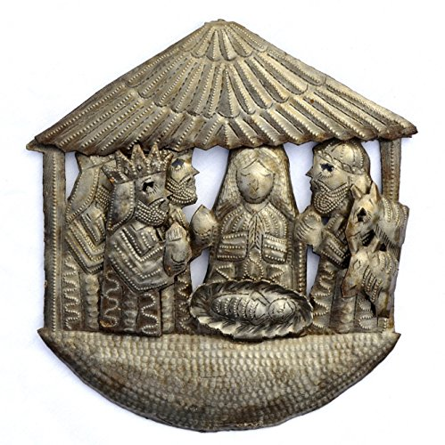 Nativity, Handmade, Ethnic, Haiti Metal Art, Creche, Christmas, Holiday Decor 9.5