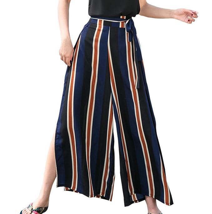 Nuevo Mujeres Pantalones con Hendidura Moda Rayas Cintura Alta ...
