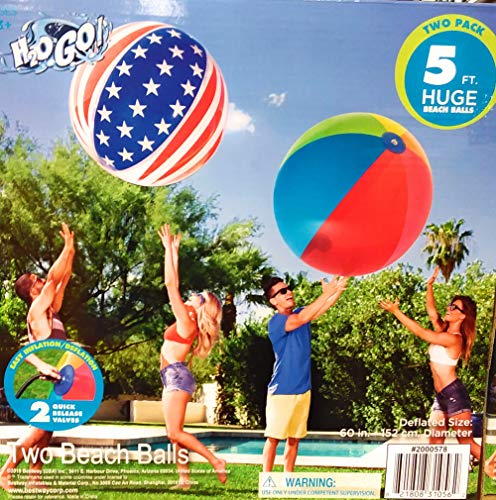 (H2OGo Huge Giant Beach Balls Two Pack, Both Beach Balls are 5)