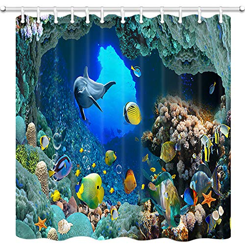 (JAWO Ocean Animal Decor Shower Curtain for Bathroom, Underwater World Dolphins and Coral Reefs Wallpaper Bathroom Curtain, Polyester Fabric Bath Curtains with Hooks Washable 69W X 70L Inches)